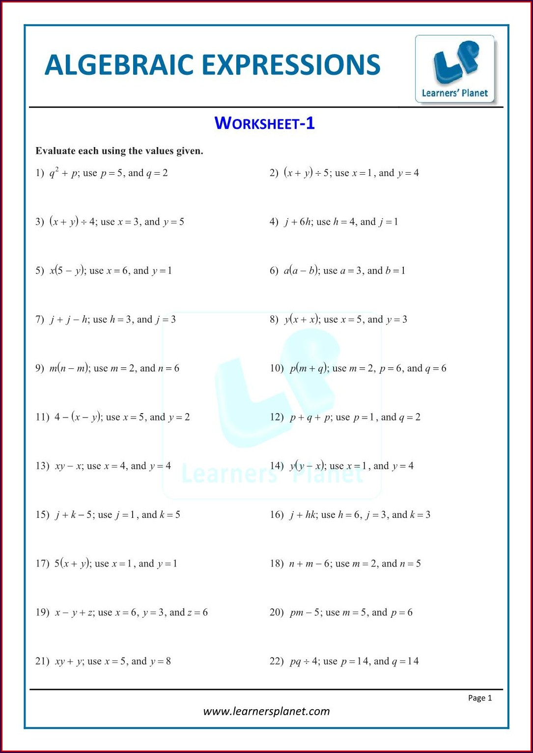 Simplifying Algebraic Expressions With Fractions Worksheet