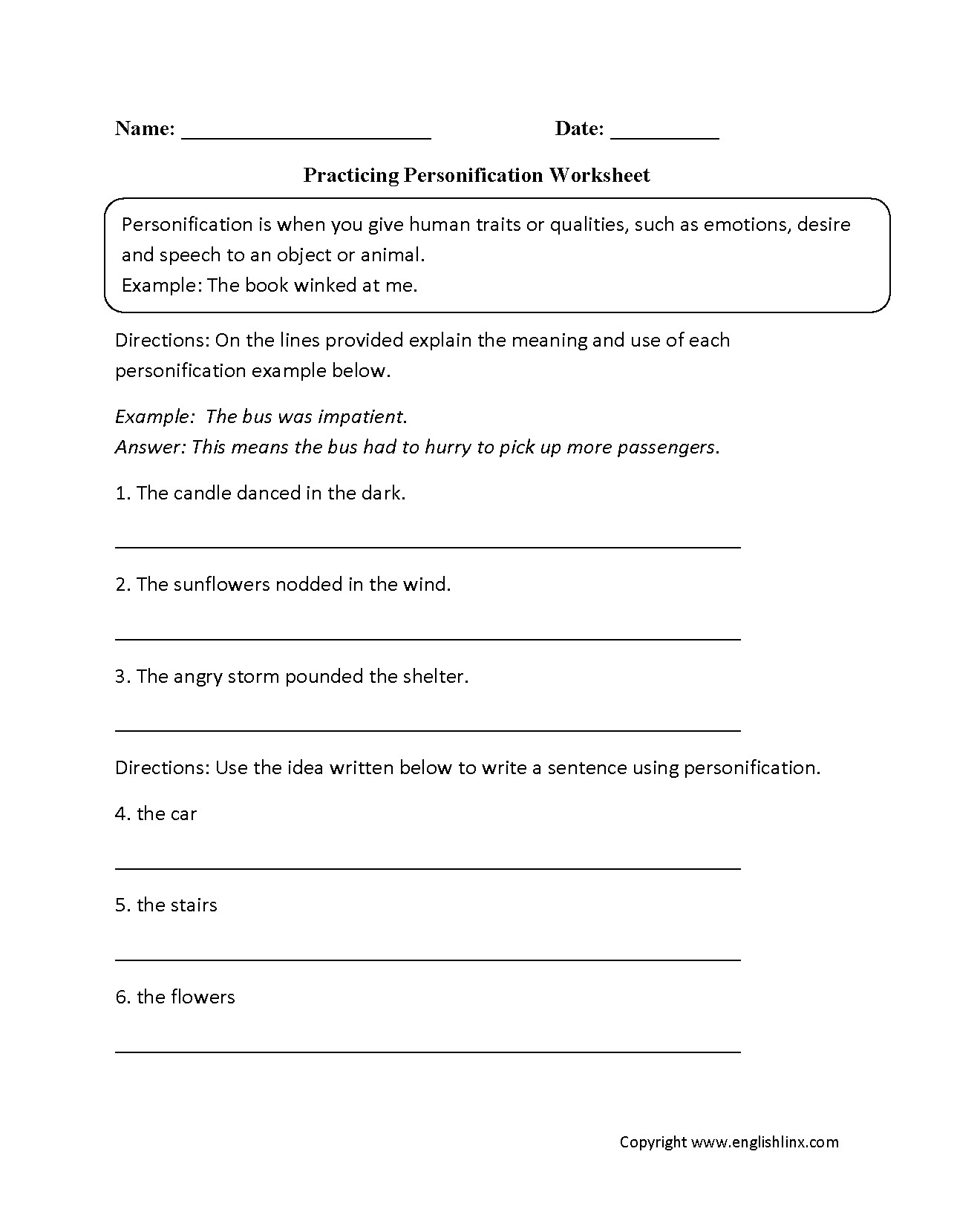 Writing A Personification Poem Worksheet Worksheet