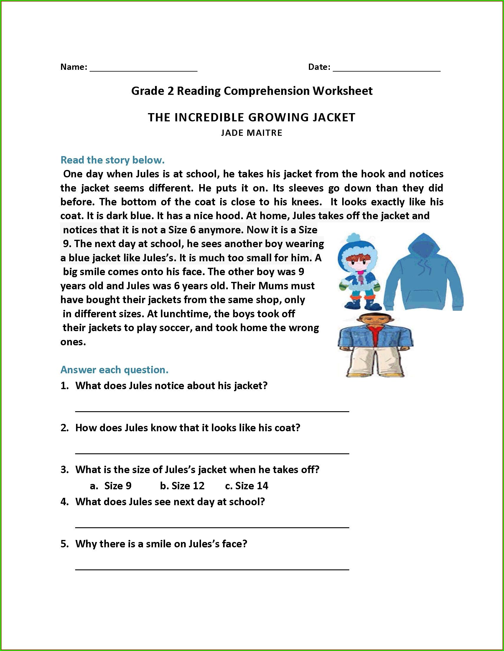 Reading Comprehension English Year 1 Worksheet Worksheet