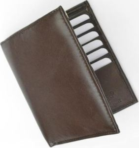 Leather Bifold Card Holder Hipster Lambskin Brown