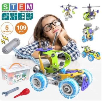 Pakoo STEM Toys Kit 5 in 1 Motorized Engineering Building Blocks