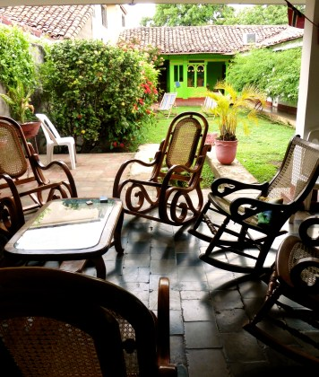 Rocking chairs and the courtyard