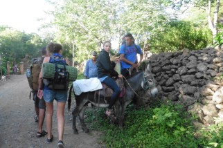 One girl wasn't feeling well and paid a few bucks to ride a burro to the mirador. Lucky.