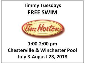 Timmy's Free Swim Tuesdays @ Chesterville and Winchester Pools