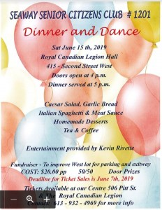 Seaway Seniors Dinner and Dance @ Royal Canadian Legion Br 297 | Cornwall | Ontario | Canada