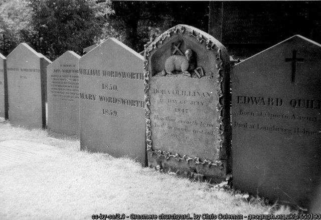 Grasmere churchyard.. Grave of William Wordsworth and his wife Mary.