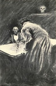 Artwork by Charles Raymond Macauley for the 1904 edition of The strange case of Dr. Jekyll and Mr. Hyde by Robert Louis Stevenson. Publisher: New York Scott-Thaw
