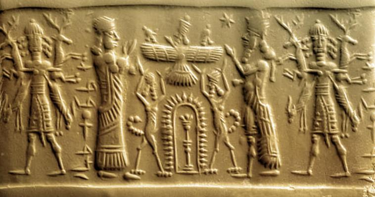 Sumerian Gods being worshipped by their human vassals, Utnapishtim, Gilgamesh