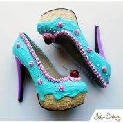 Shoe Bakery Teal and Pink Cake Heels