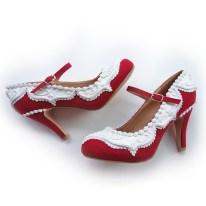 Shoe Bakery Mary Jane Red Velvet Heels