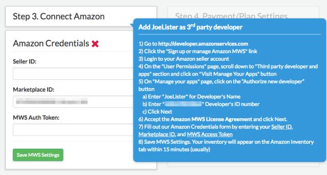 JoeLister configuration accès Amazon