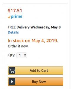 Page de détail Amazon avec inventaire FBA en attente
