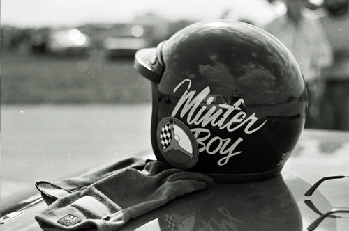 Milt Minter's eye catching helmet at the 1975 12 Hours of Sebring. His car finished 6th.