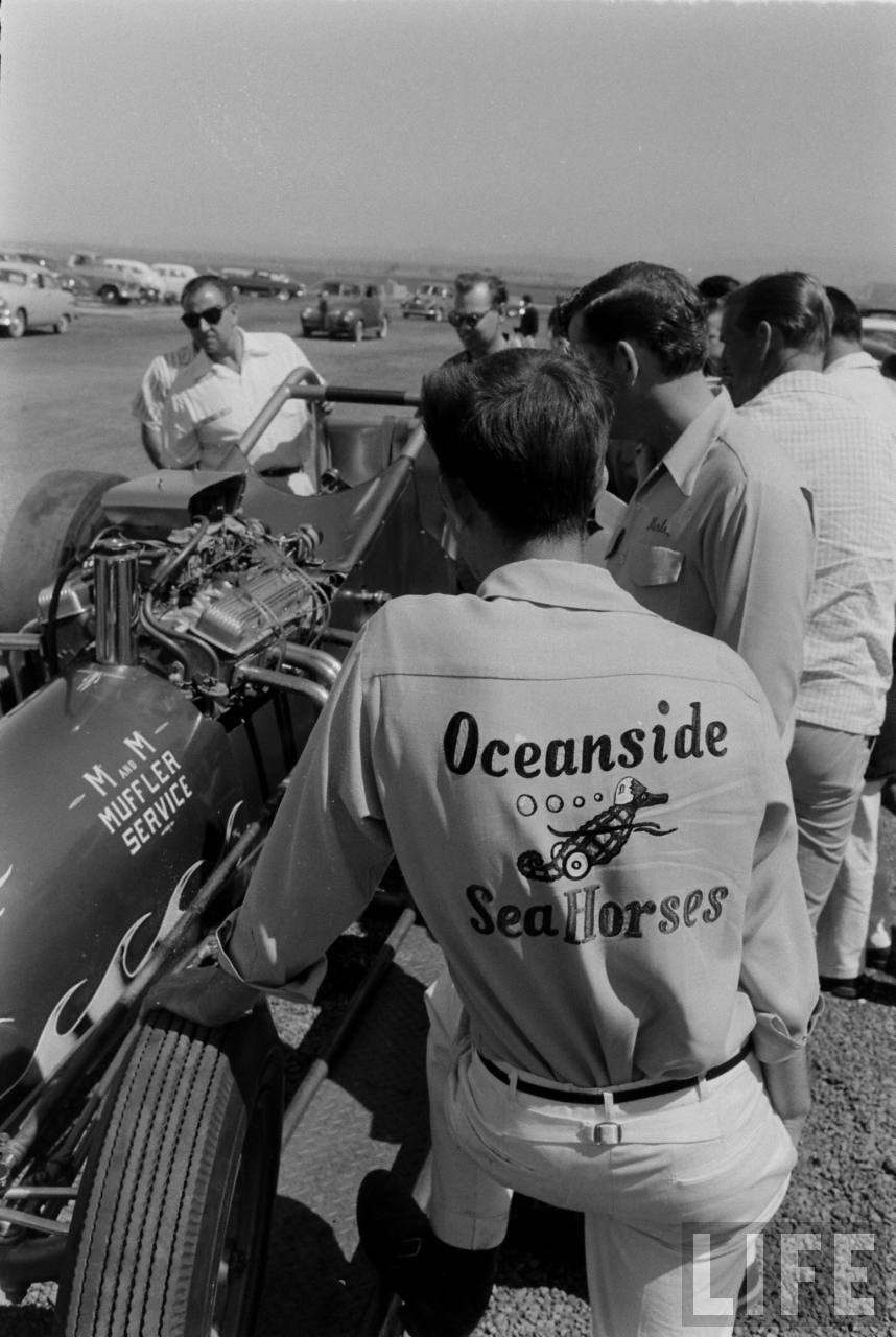 "Sorry, but ""Oceanside Sea Horses"" doesn't sound very badass-- Santa Ana Drag StripE, late 50s."