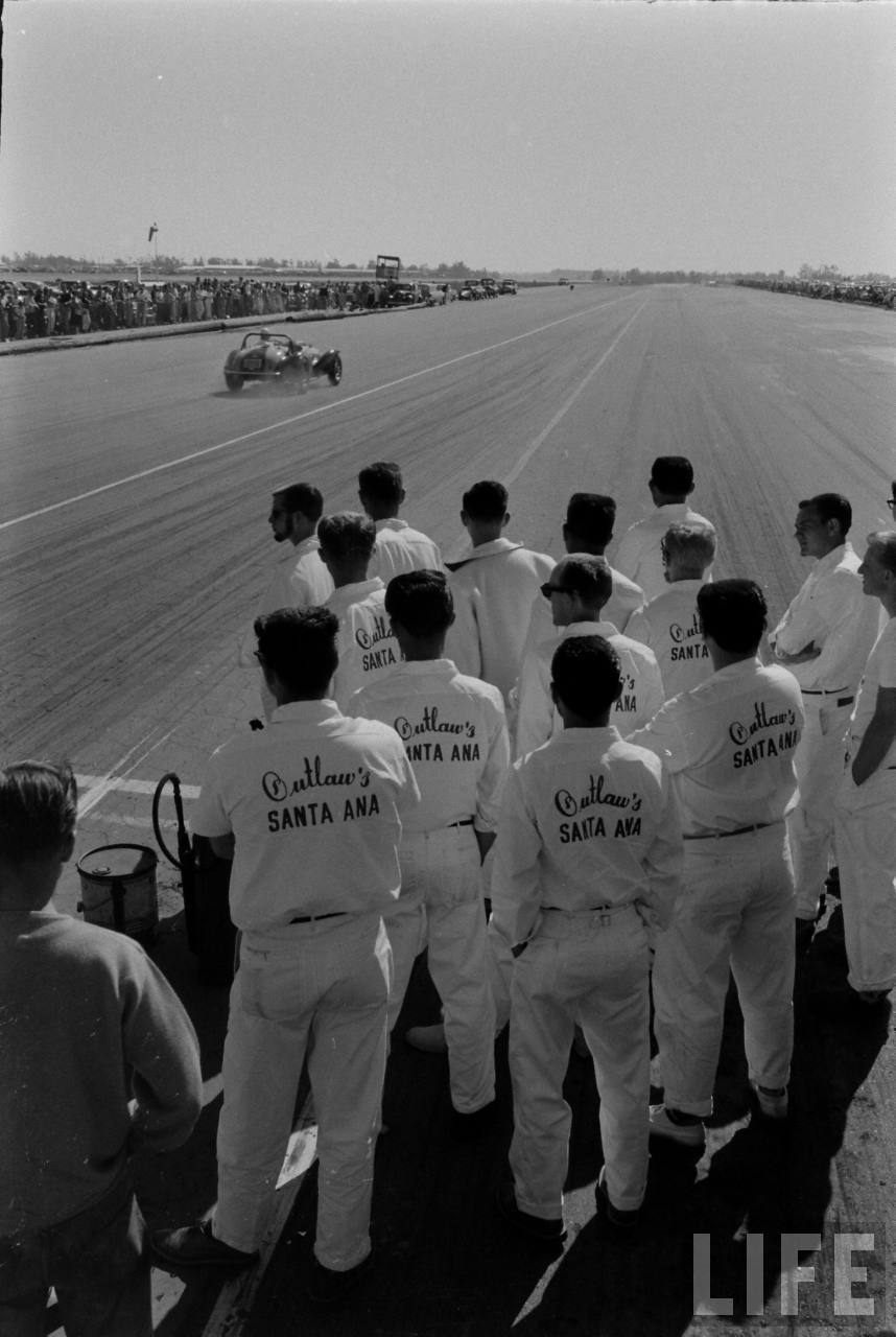 """Outlaws"", there's a good, solid name-- Santa Ana Drag strip, late 50s."