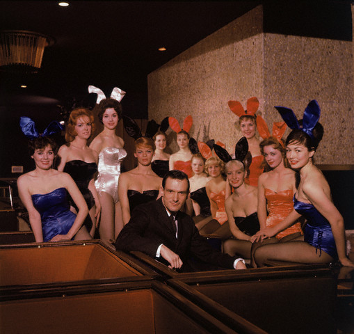Hugh Hefner and Playboy Bunnies at the Chicago Playboy Club  --1960.