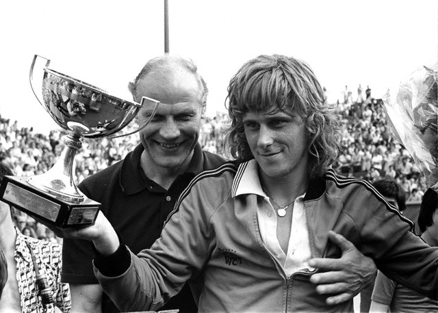 Lennart Bergelin with tennis great Bjorn Borg of Sweden at French Open, 1974.