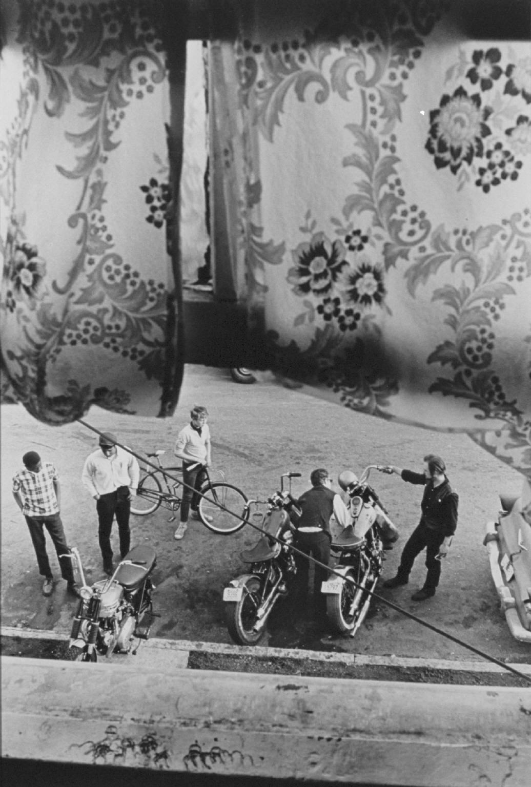 """""""From Lindsey's room, Louisville"""" from The Bikeriders by Danny Lyon  --1966."""