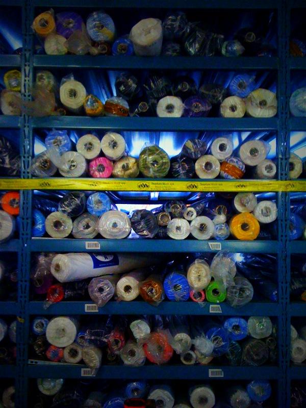 A small sampling of Monti's shirting inventory.