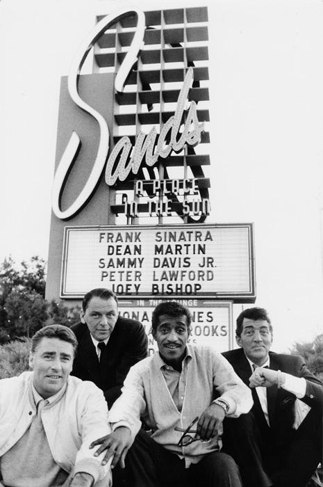 Sinatra & frIends (Peter Lawford, Frank Sinatra, Sammy Davis Jr., Dean Martin) - Sands sign  --Bob Willoughby