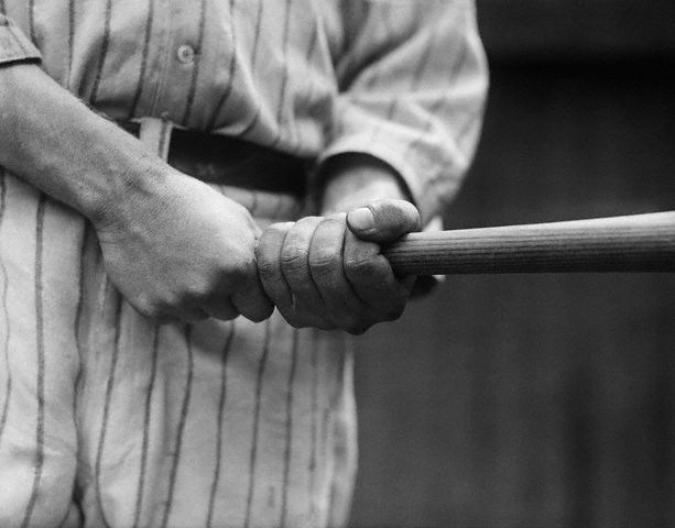 Babe Ruth clutching his bat, and ready for action -- June 4th, 1920.