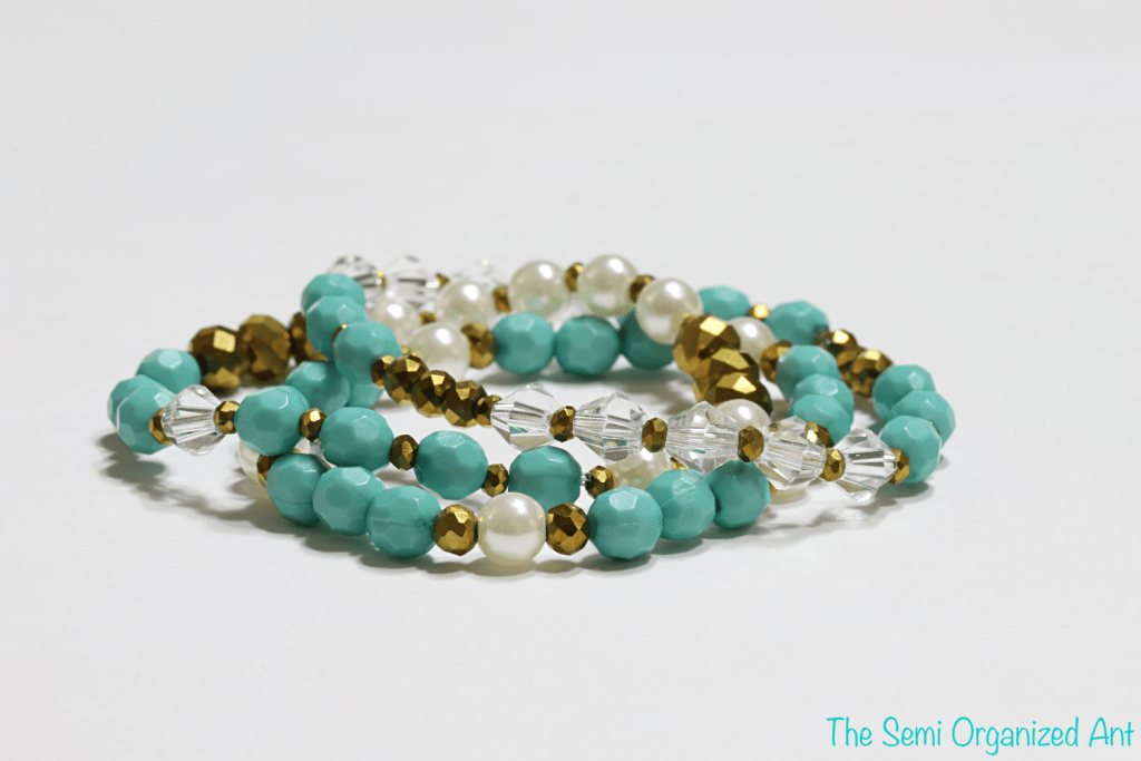 Green Turquoise Stackable Stretch Beaded Bracelets