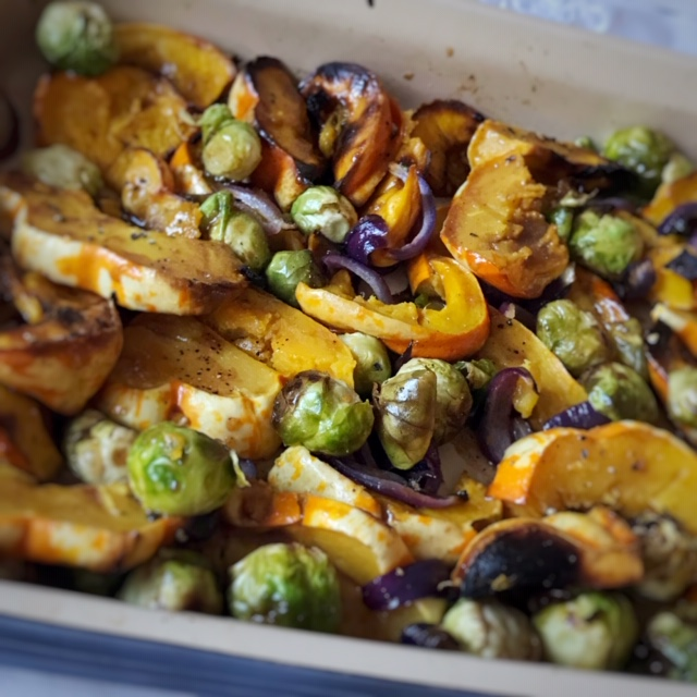 Roasted squash, red onion and Brussel sprouts