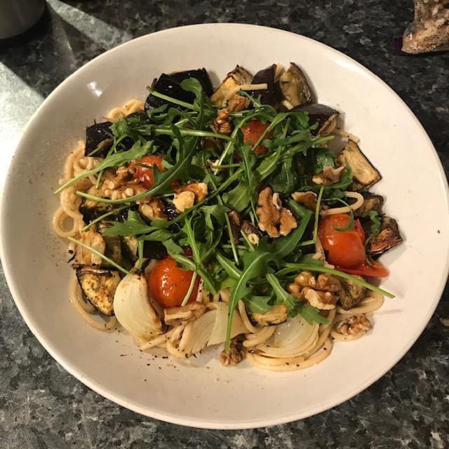 Aubergine, walnut and rocket spaghetti