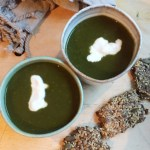 spinach soup and seedy crackers pic