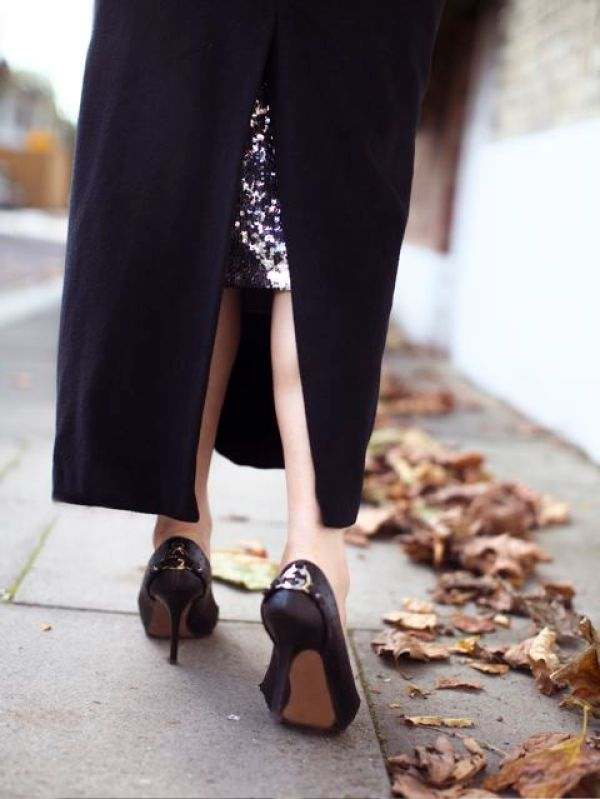 gucci heels, sequin skirt, coat
