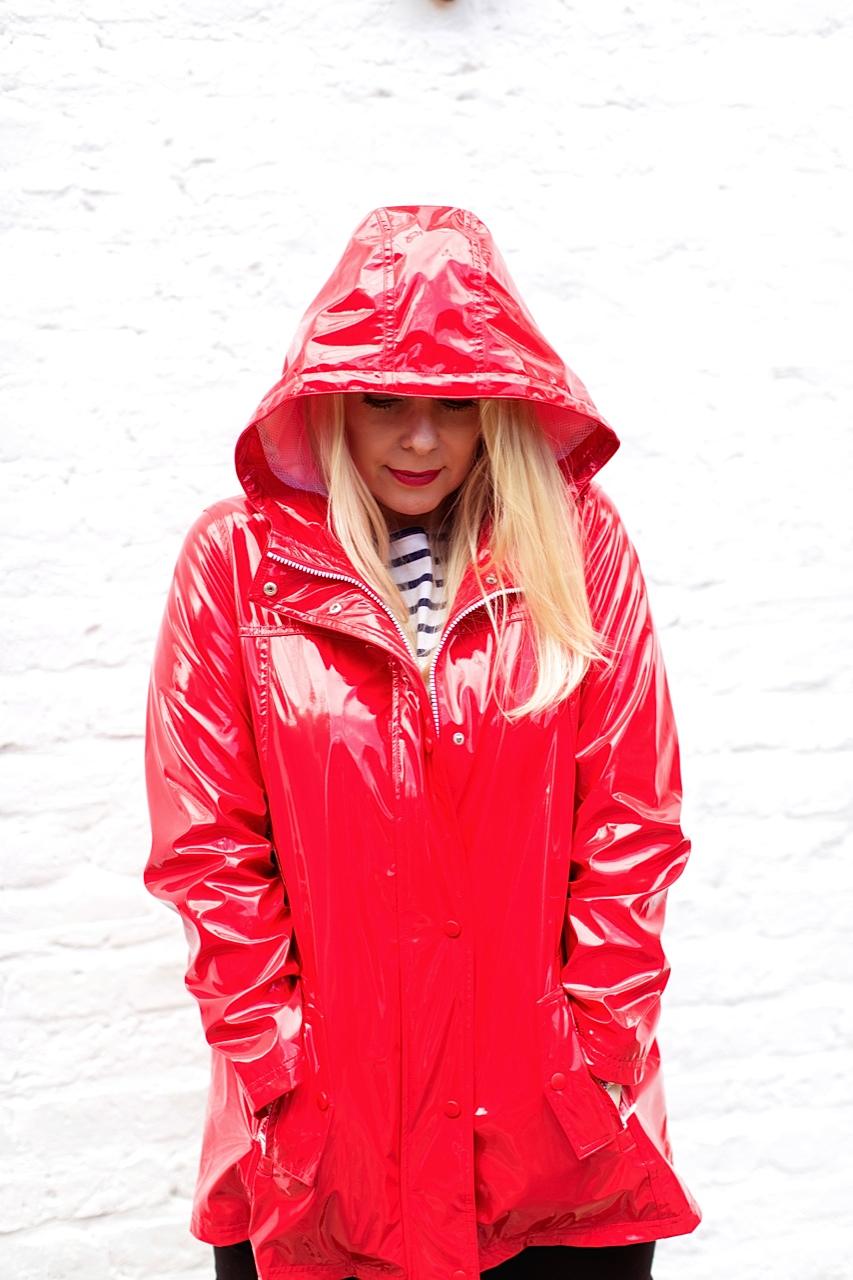 shiny red rain slicker hood
