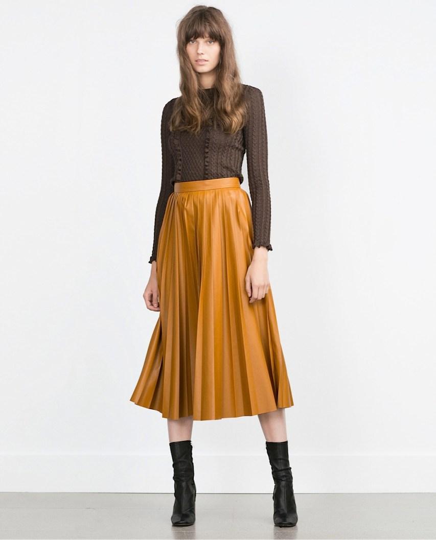 zara pleated skirt