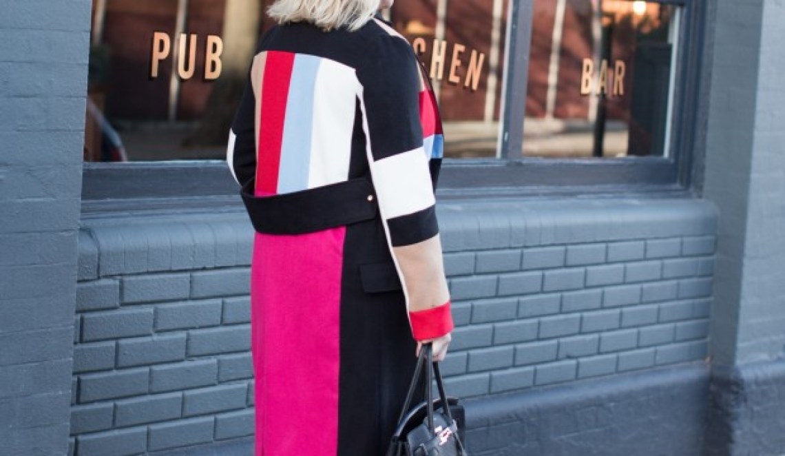back of colour blocked coat