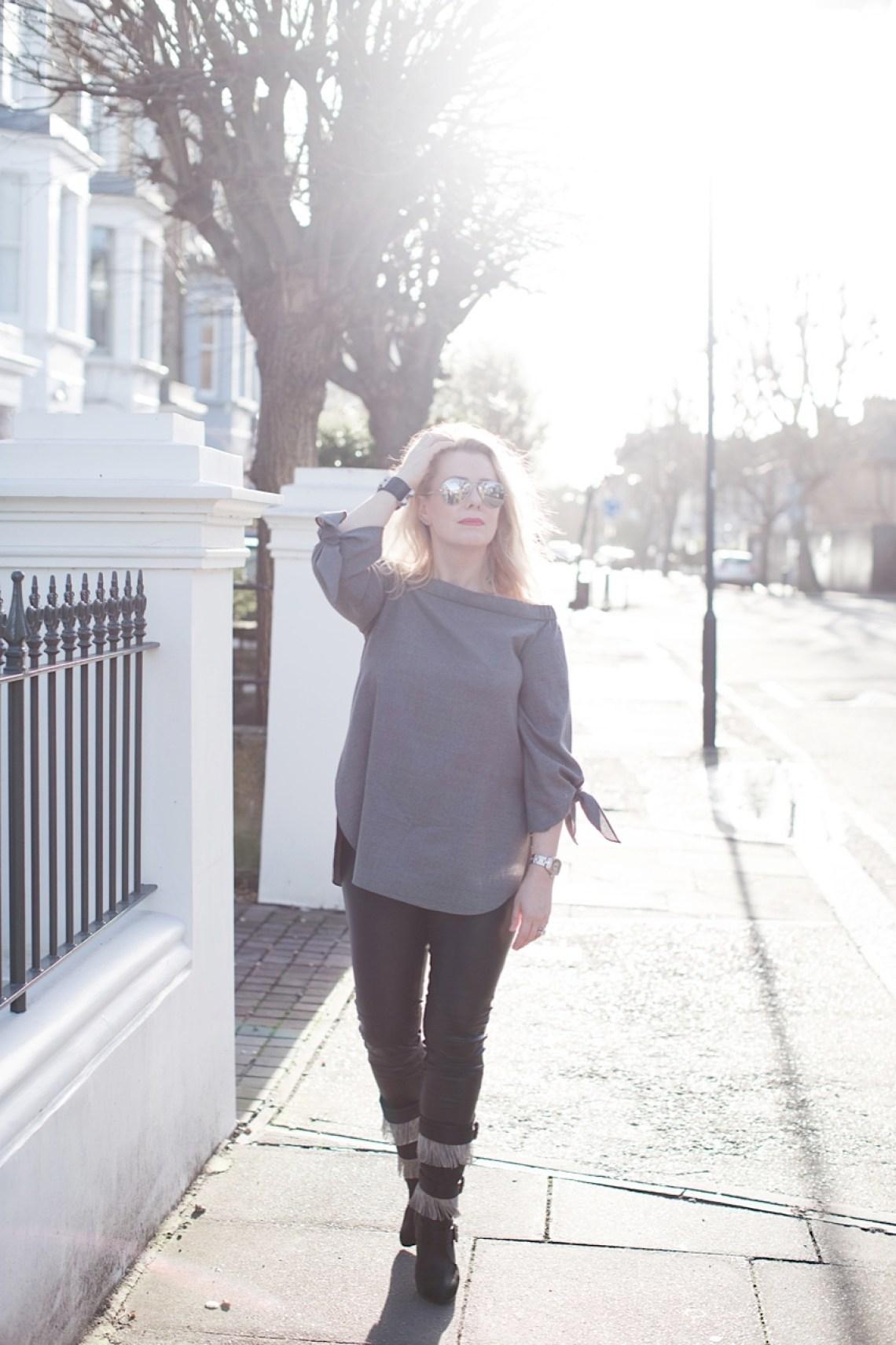 tibi grey wool shirt