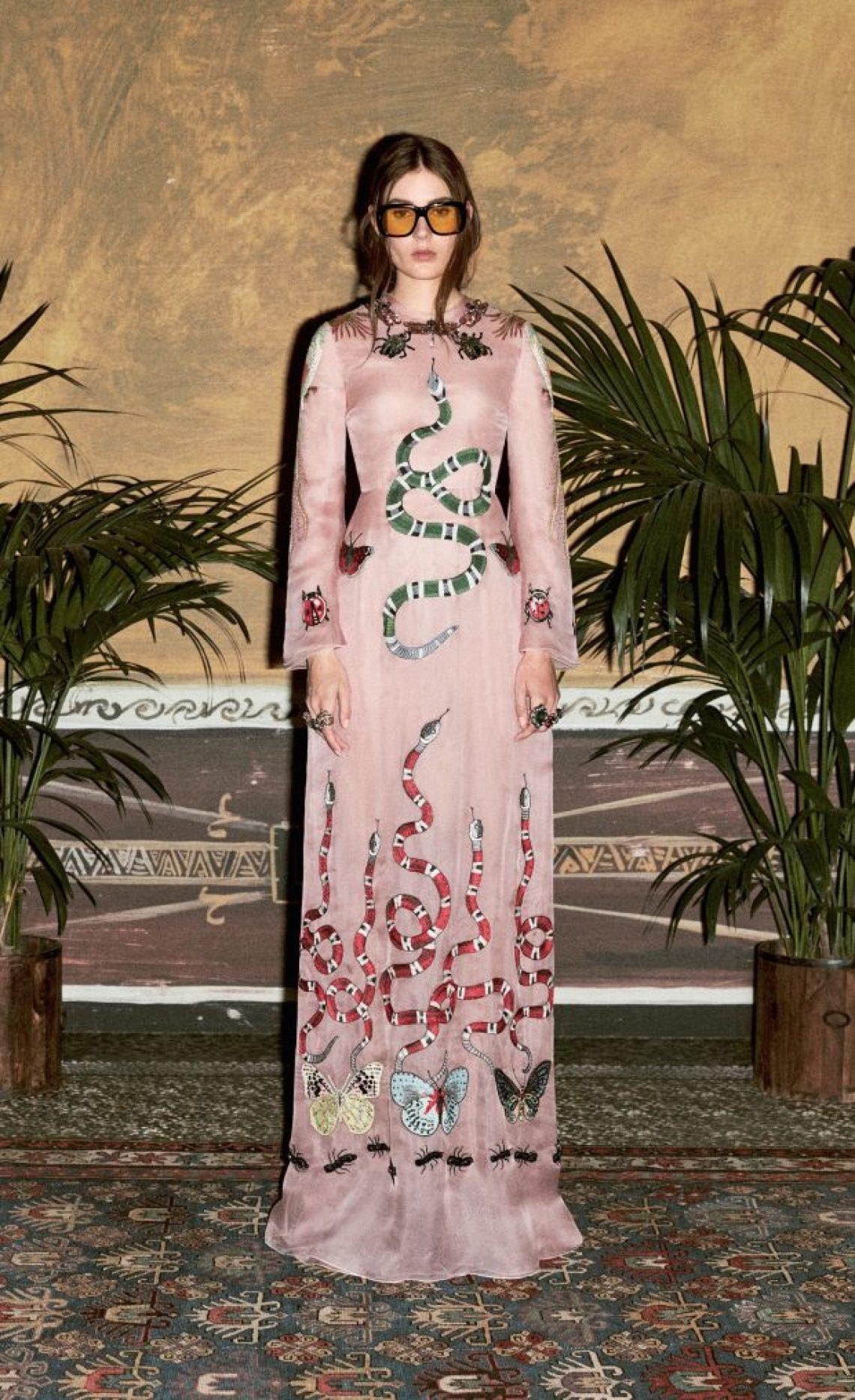 gucci pink snake dress