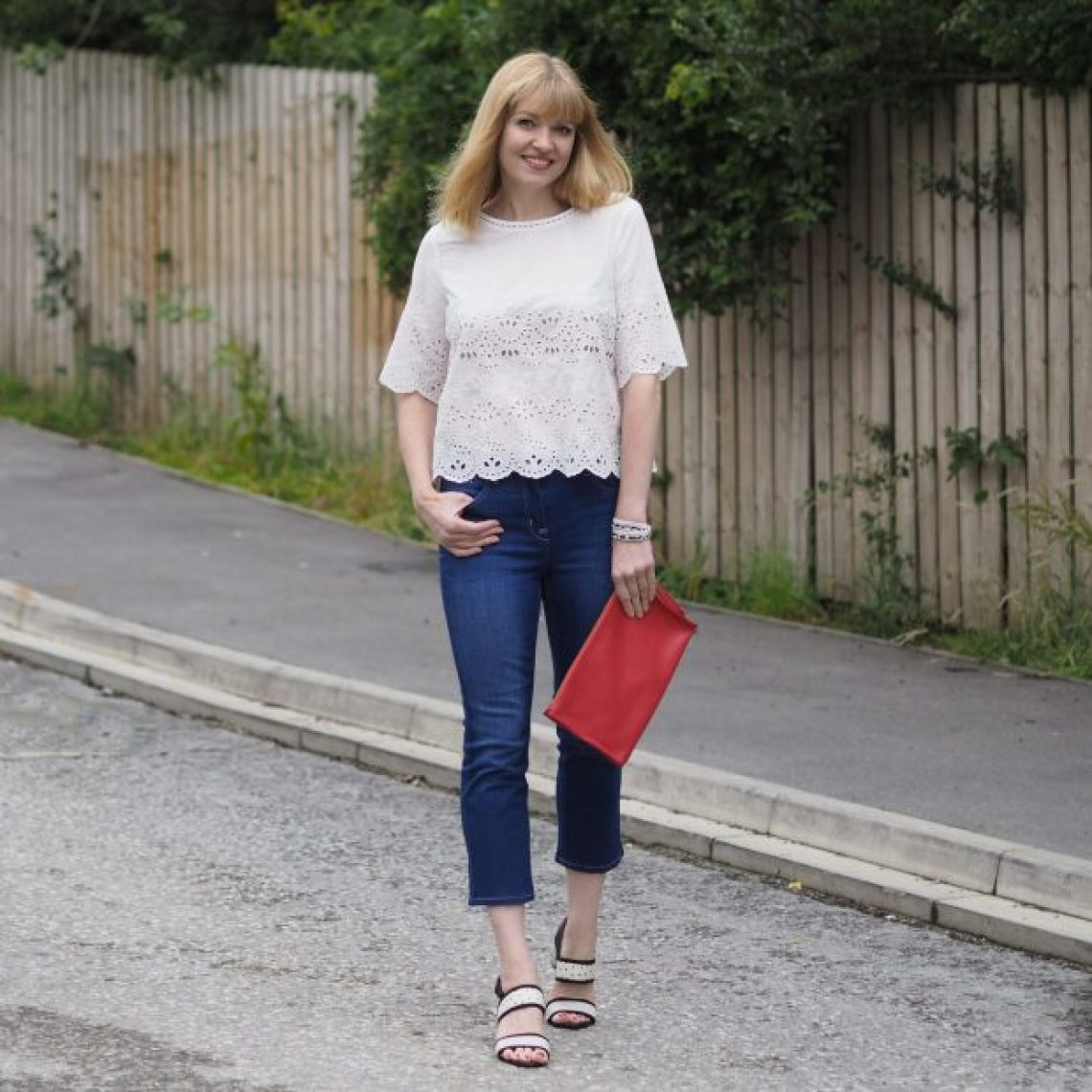 Marks and spencer white top broderie