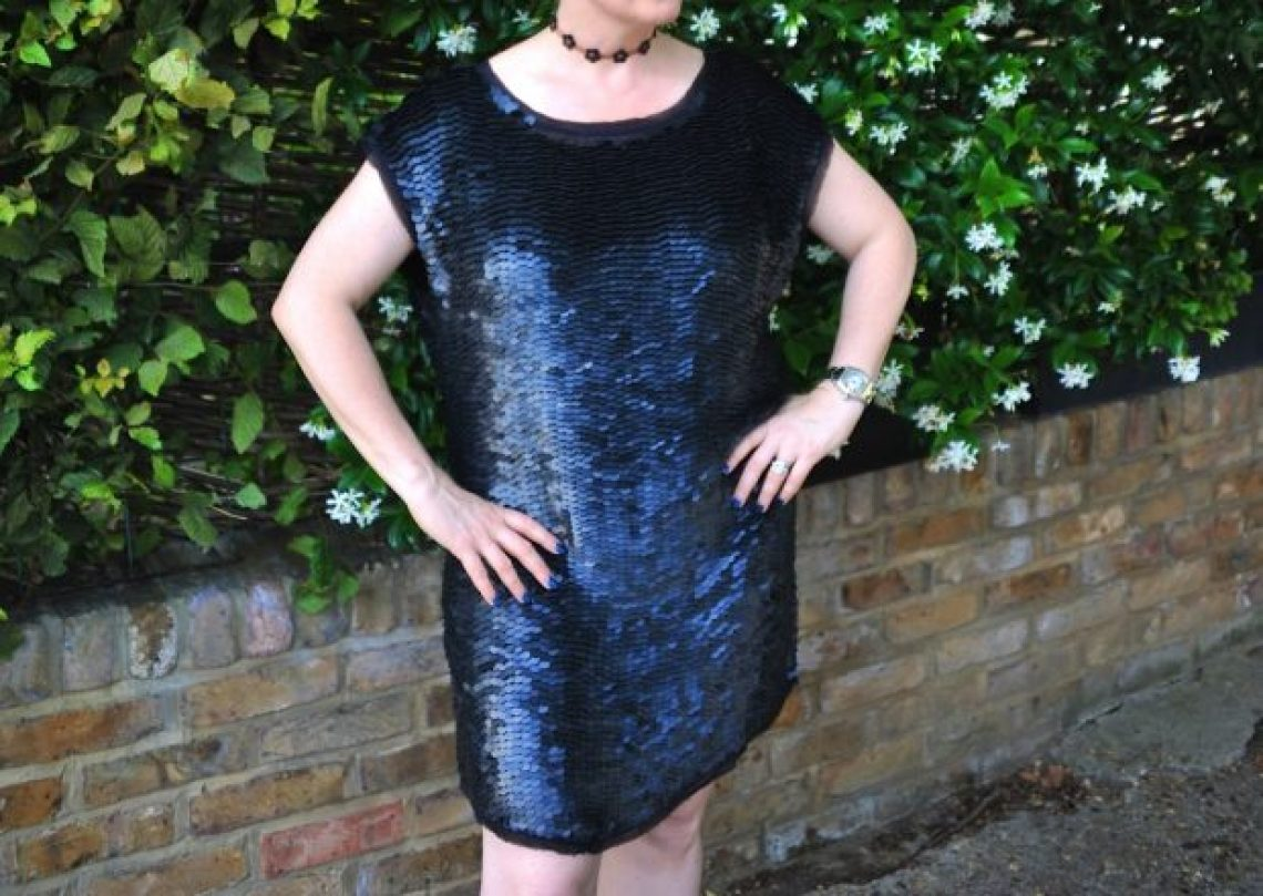 slouchy black sequins with chokers