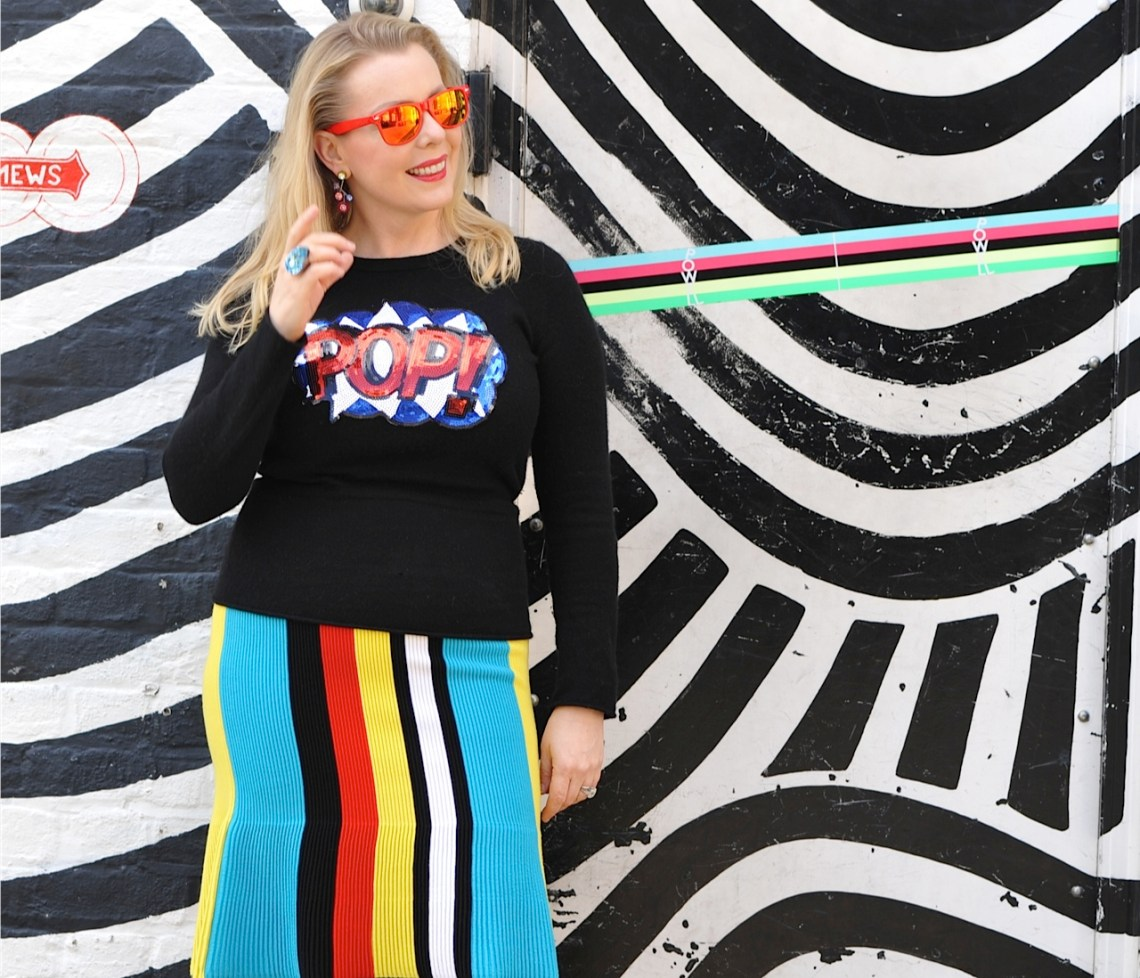 Rainbow door and skirt with Pop Art Jumper
