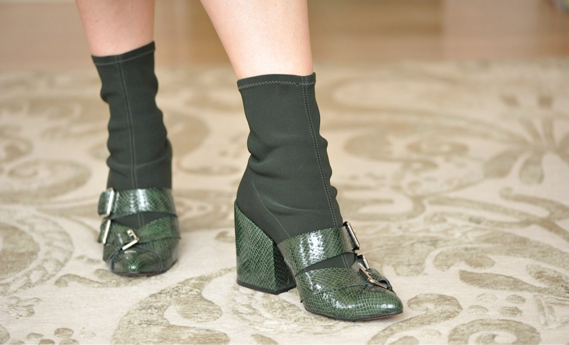 Finery green lizard print boots