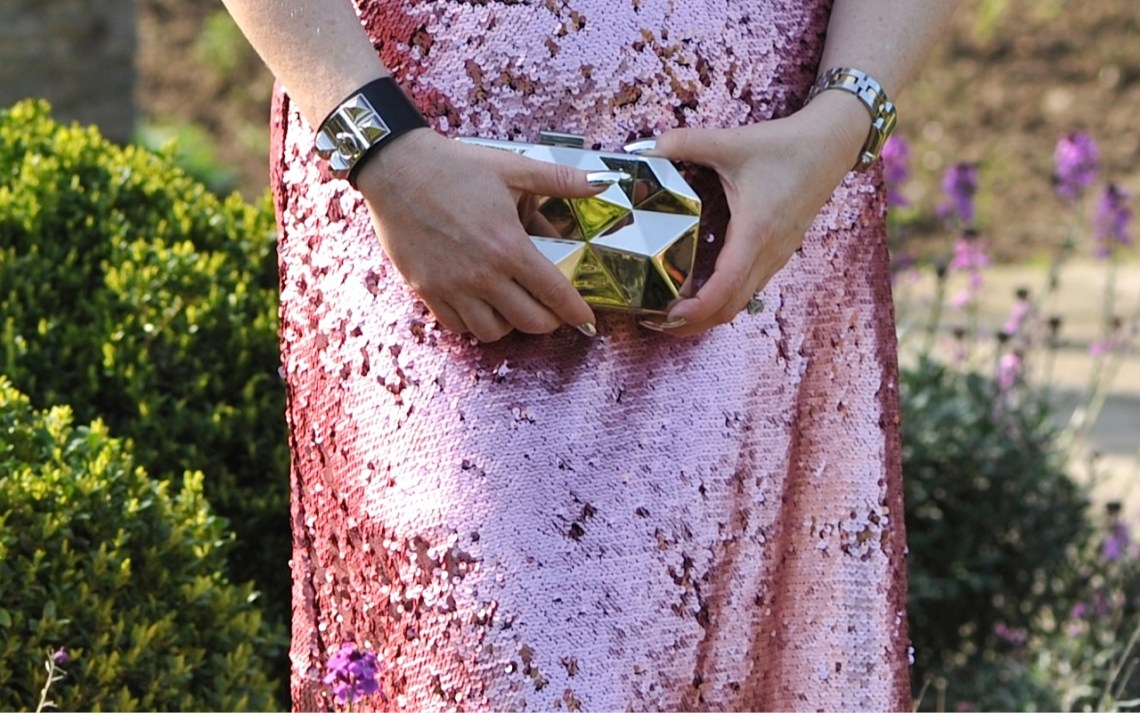 pink sequins chrome clutch