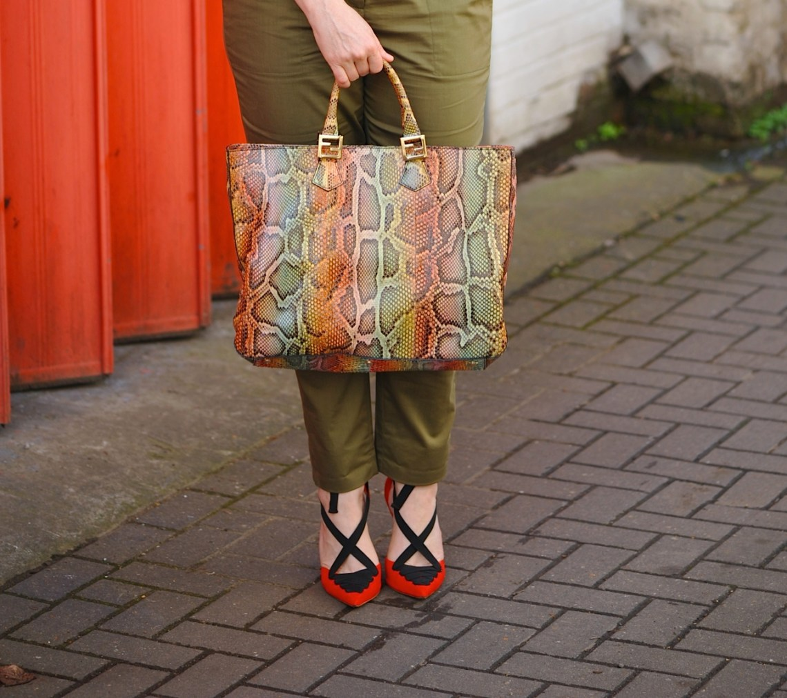 Fendi rainbow bag and red shoes
