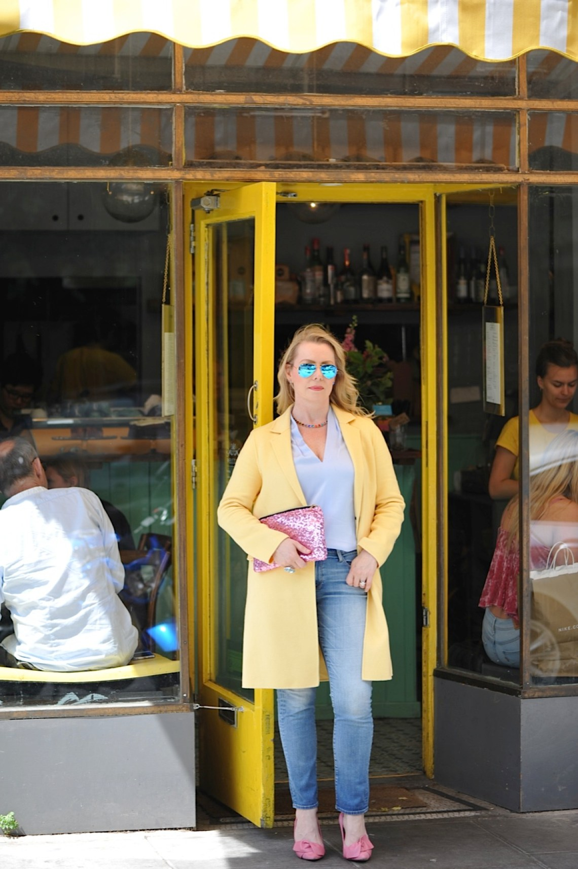 Yellow Coat and Frame jeans