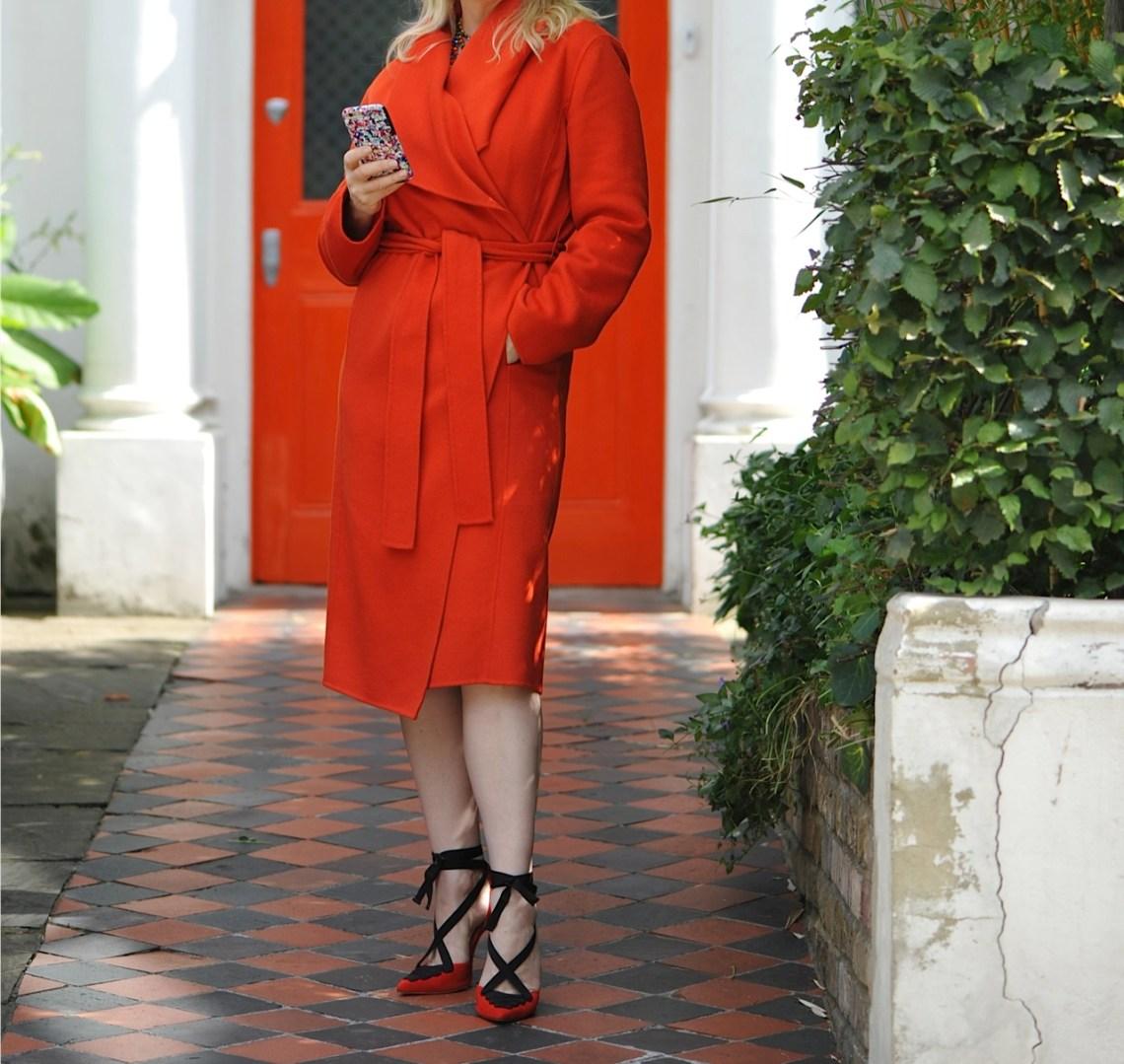 Belted orange Hobbs coat
