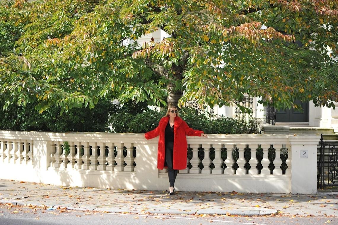 Mango red faux fur coat