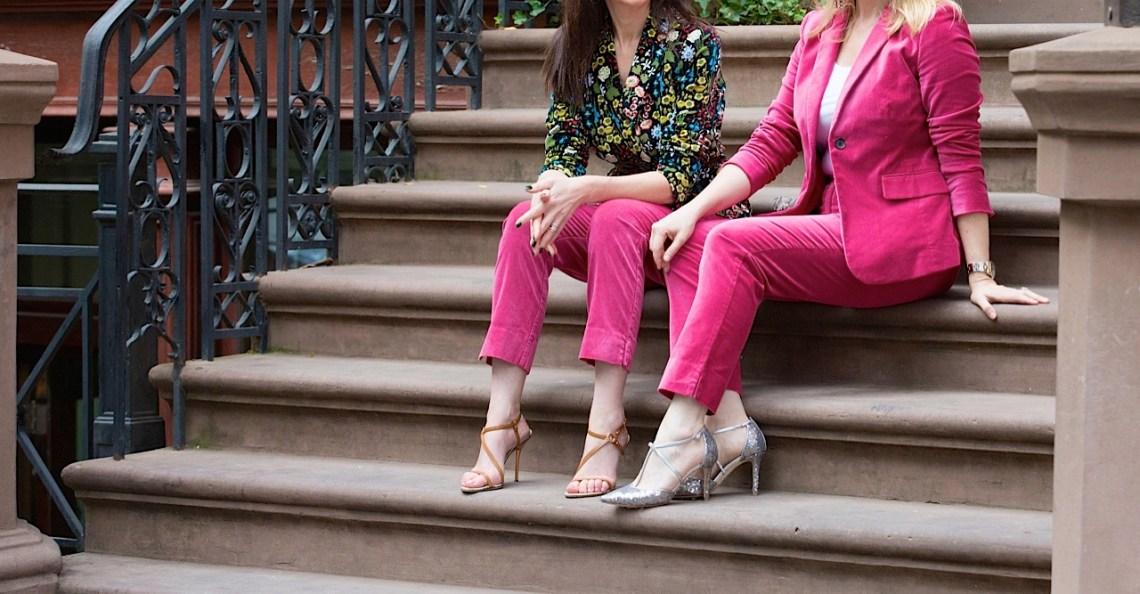 velvet suit and sequin heels