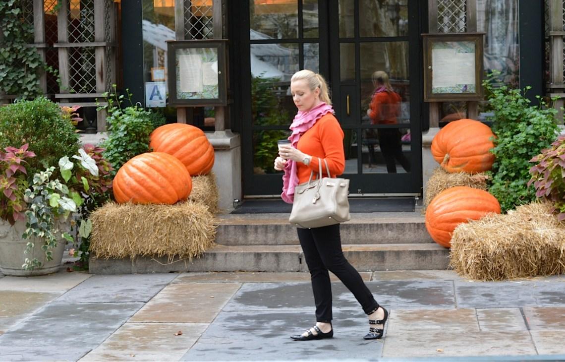 Orange knit and pumpkins