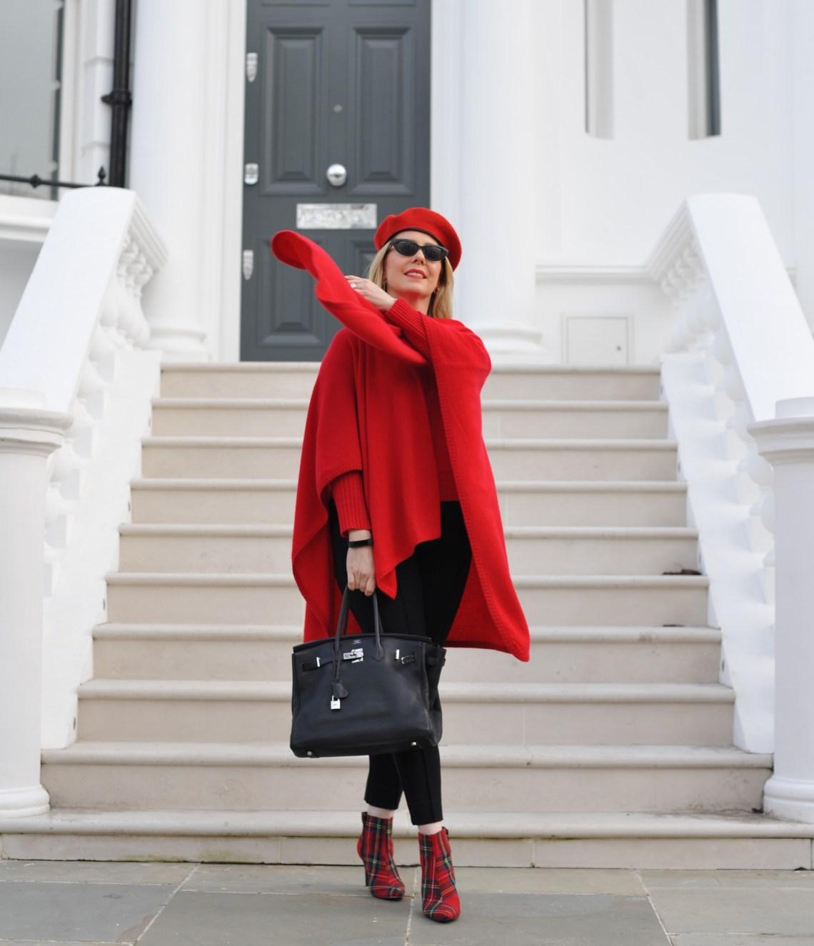 Breezy-cashmere-red-poncho-Birkin-boots