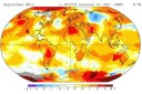 Temperature anomalies (in degrees Celsius) of various regions around the world in August 2014. Credit: NASA