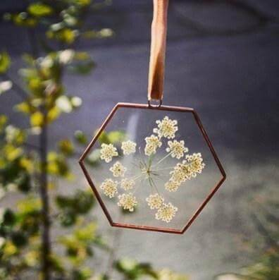 paly glass pressed flower frame