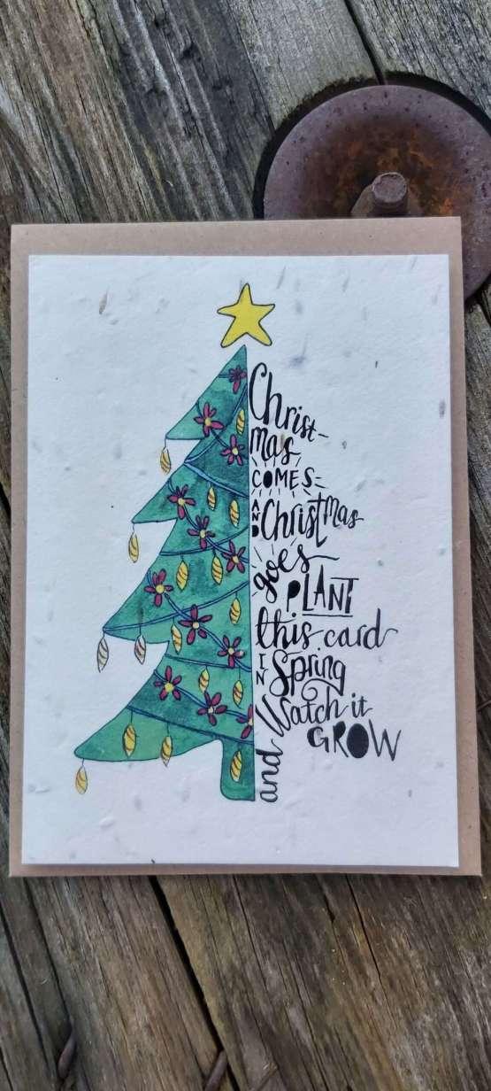 Christmas tree plantable card